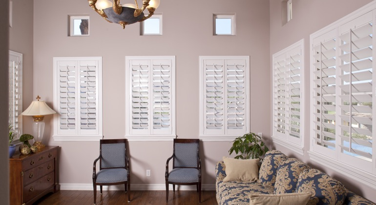 Modern parlor with interior shutters