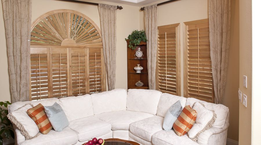 Sunburst Arch Ovation Wood Shutters In Minneapolis Living Room