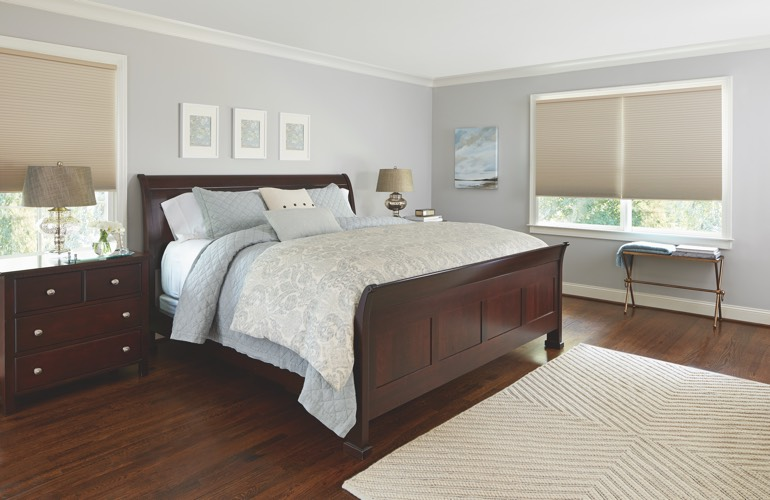 Beige shades in a Minneapolis bedroom.