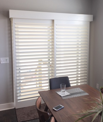 Minneapolis white sliding door shutters
