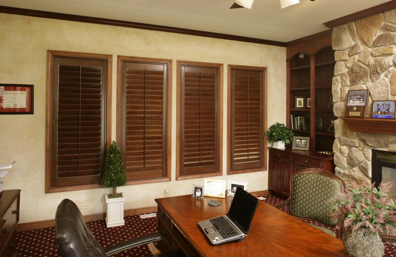 Hardwood plantation shutters in a Minneapolis home office