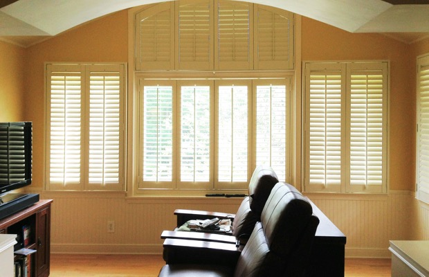 Minneapolis plantation shutters in home theater