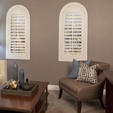 Minneapolis family room interior shutters.