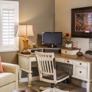 Minneapolis home office plantation shutters.