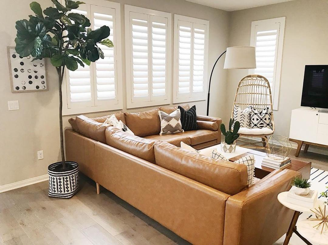 Cozy living room with Polywood shutters in Minneapolis.