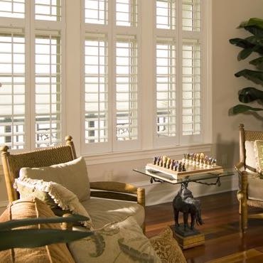 Minneapolis living room polywood shutters.