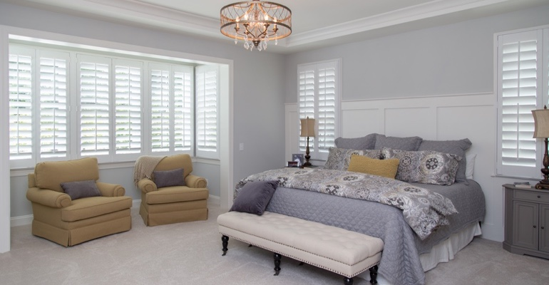 Interior shutters in Minneapolis bedroom.