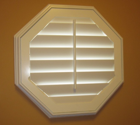 Minneapolis octagon window with white shutter