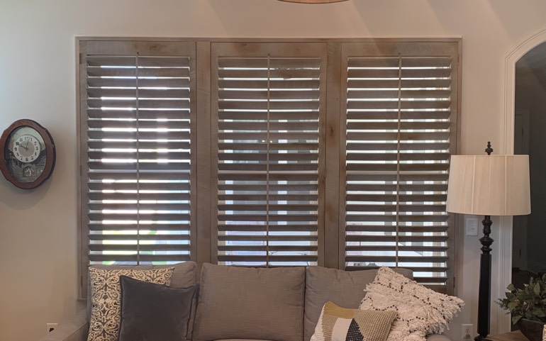 Reclaimed wood shutters in living room
