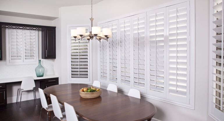 plantation shutters in Minneapolis dining room