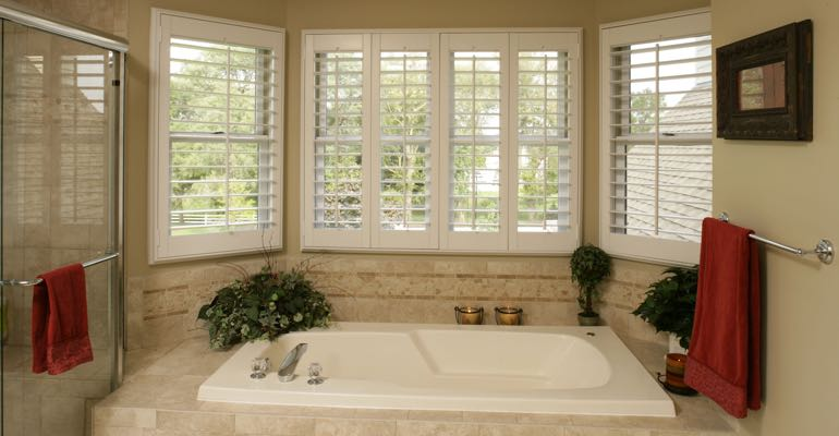 Plantation shutters in Minneapolis bathroom.
