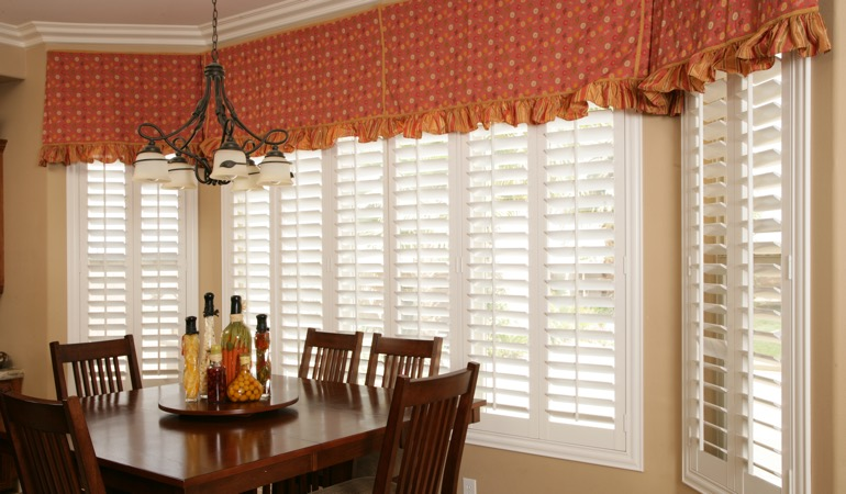 White shutters in Minneapolis dining room.