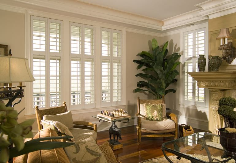 Lounge Interior With Hardwood Floors And Plantation Shutters