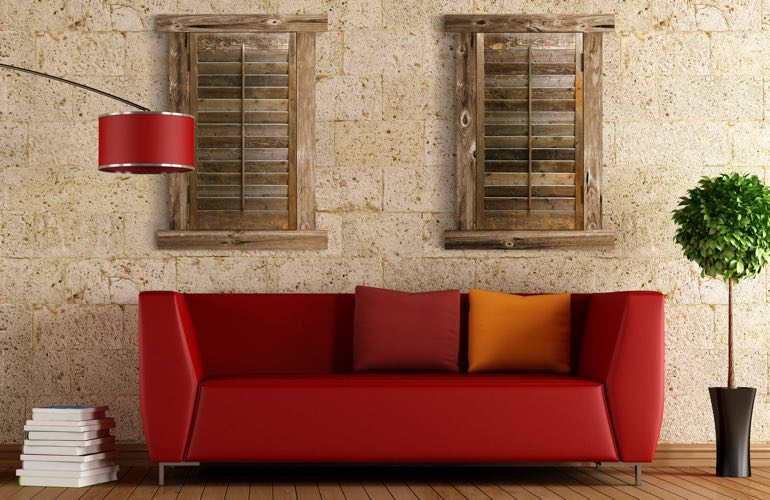 Reclaimed Wood Shutters In A Minneapolis Living Room.