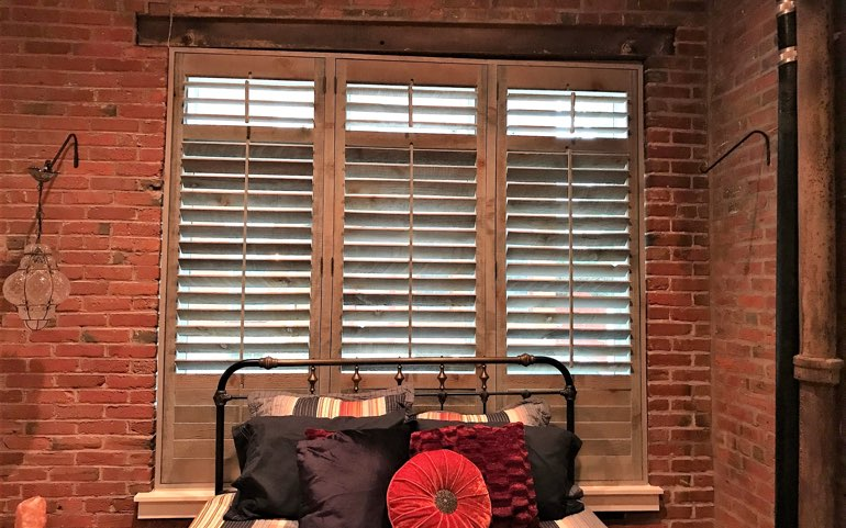 repurposed wood shutters in Minneapolis apartment - Reclaimed Wood Shutters For Sale Sunburst Shutters Minneapolis, MN