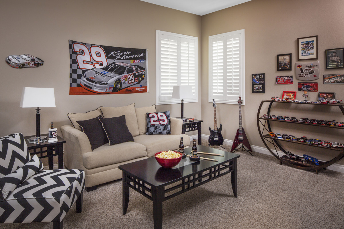 Minneapolis man cave with shutters