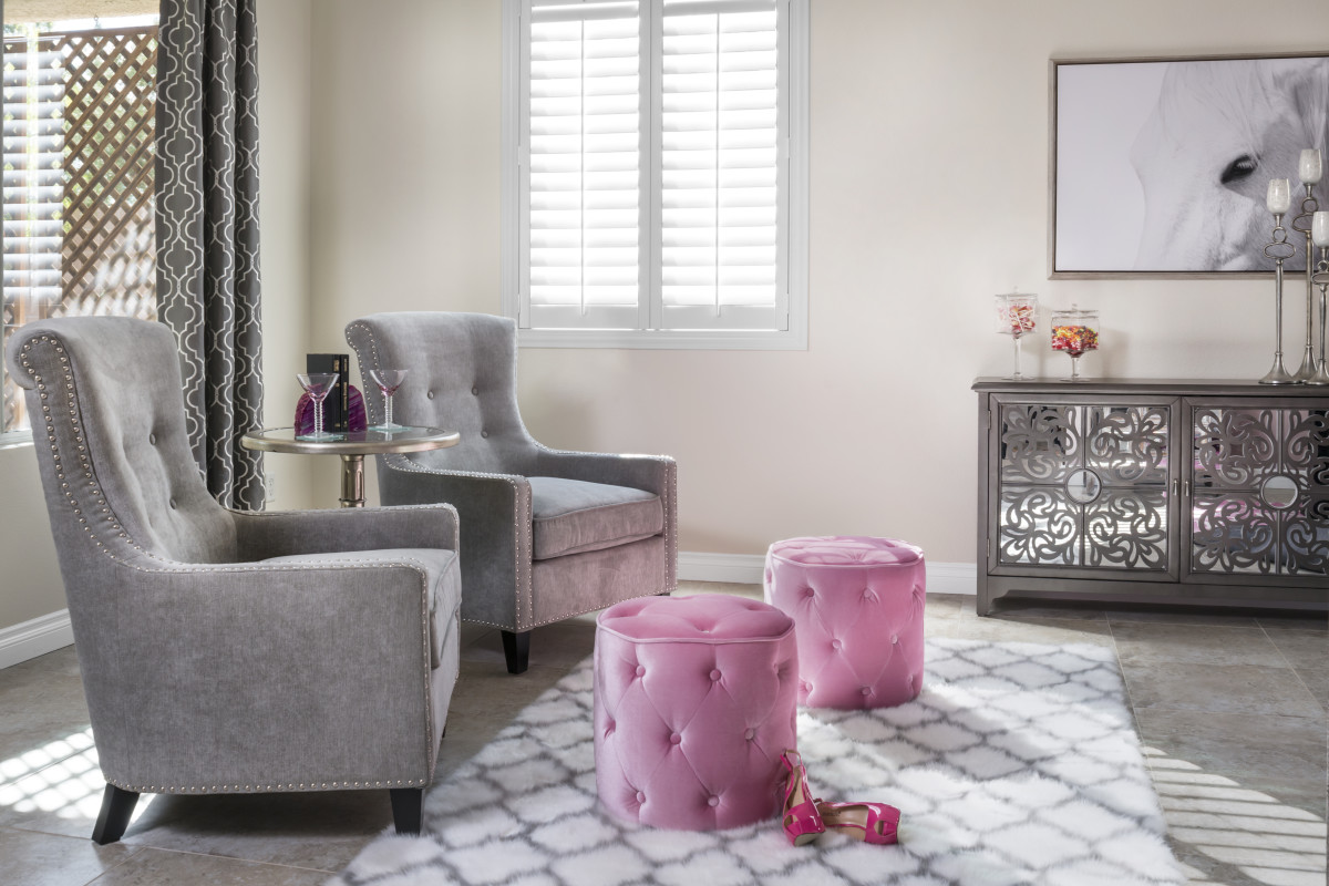 Minneapolis pink living room with shutters