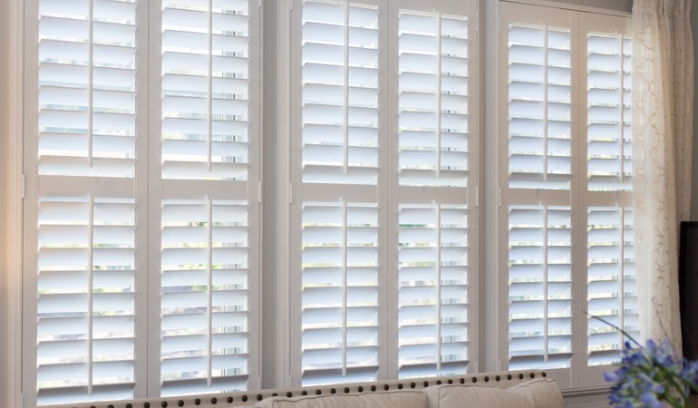 Faux wood plantation shutters in Minneapolis