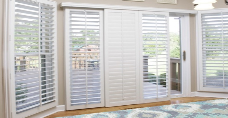 [Polywood|Plantation|Interior ]211] shutters on a sliding glass door in Minneapolis