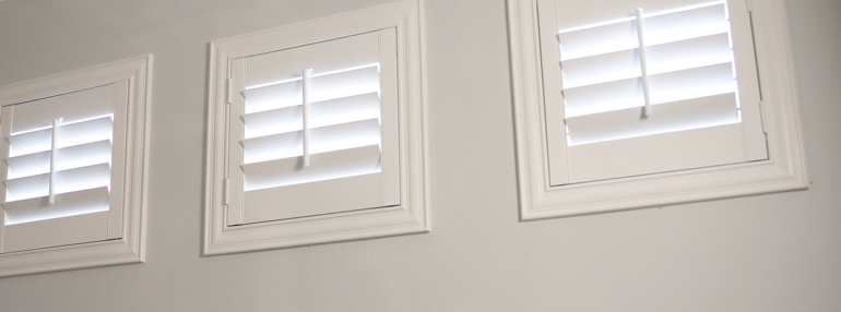 Small Windows in a Minneapolis Garage with Polywood Shutters
