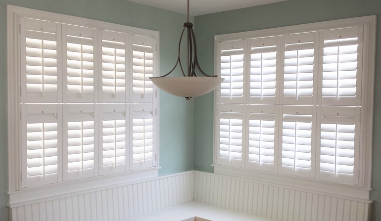 Minneapolis plantation shutters in dining room