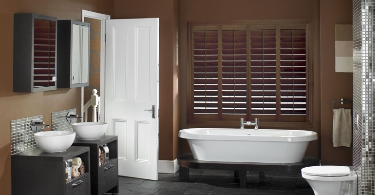 Minneapolis bathroom shutters wood stain