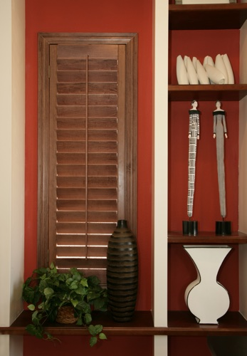 Minneapolis wood shutter shelving