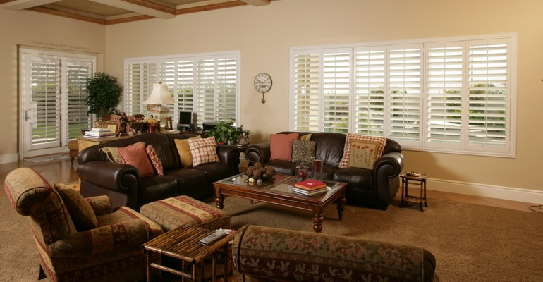Minneapolis sunroom with custom shutters.