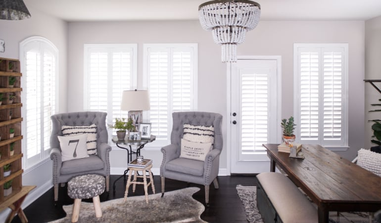 Plantation shutters in a Minneapolis living room