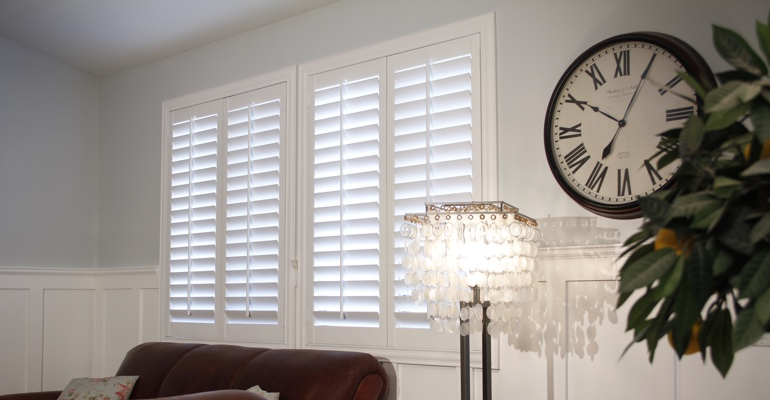 Minneapolis living room white shutters