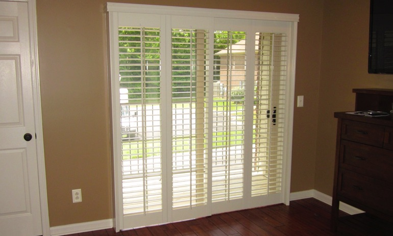 Minneapolis sliding door bifold shutters in patio