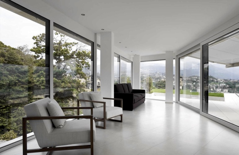Contemporary room with window film