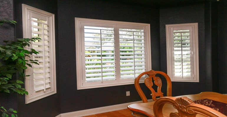 Beautiful Polywood Plantation Shutters In Dining Room With Dark Paint