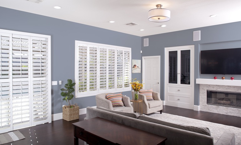 Plantation Shutters In A Minneapolis Living Room.