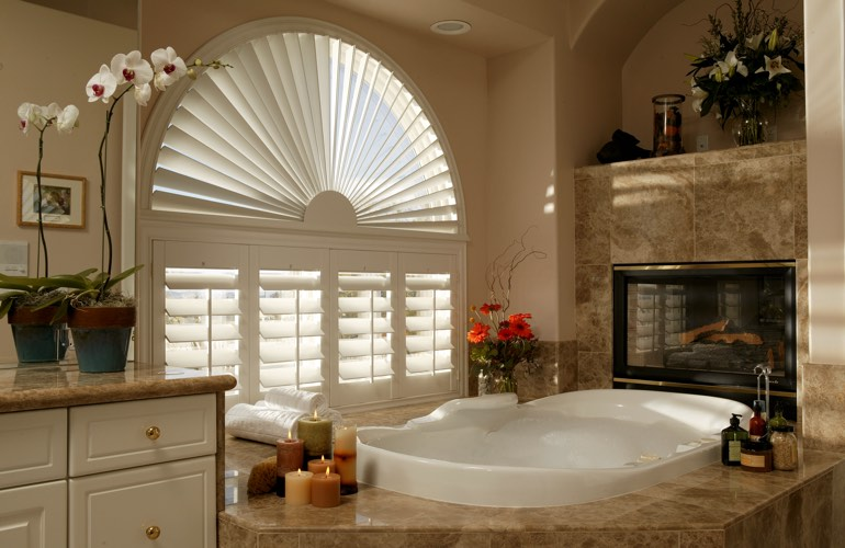 Our Professionals Installed Shutters On A Sunburst Arch Window In Minneapolis, MN