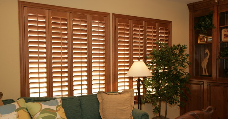 Wood shutters in Minneapolis living room.