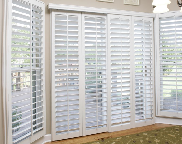Sliding glass door with plantation shutters Minneapolis