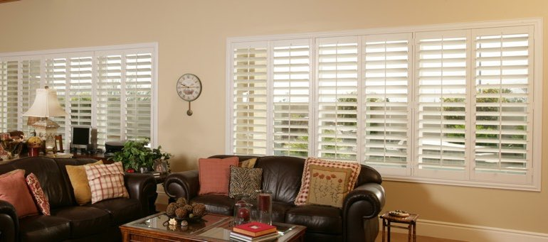 Wide window with interior shutters in Minneapolis living room